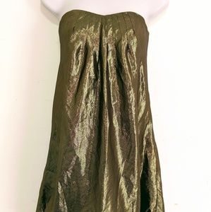 Banana Republic Gold Metallic Silk dress Sz 0